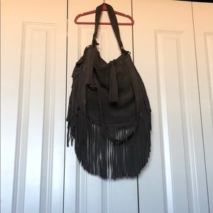 Lucky suede fringe hobo purse